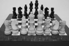 Chess. The chess pieces are placed on the chessboard. Black and white Stock Images