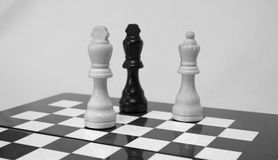 Chess. The chess pieces are placed on the chessboard. Black and white. Checkmate Stock Photo