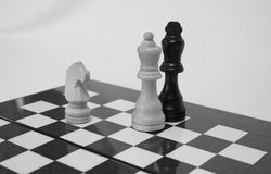 Chess. The chess pieces are placed on the chessboard. Black and white. Checkmate Royalty Free Stock Image