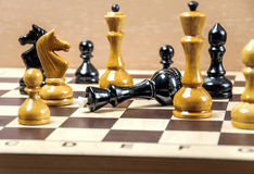 The chess pieces are placed on the chessboard Royalty Free Stock Photo