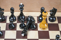 The chess pieces are placed on the chessboard Stock Images
