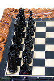 The chess pieces are placed on the chessboard. Royalty Free Stock Photo