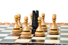 The chess pieces are placed on the chessboard. Stock Image