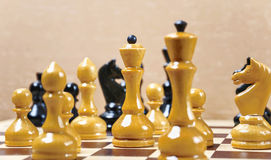 The chess pieces are placed on the chessboard Stock Photography