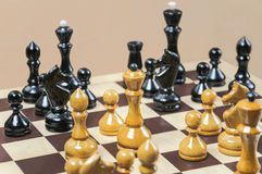 The chess pieces are placed on the chessboard Royalty Free Stock Image
