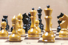 The chess pieces are placed on the chessboard Stock Image