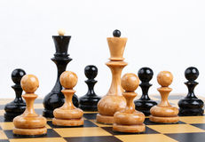 The chess pieces placed on the chessboard. Royalty Free Stock Photo