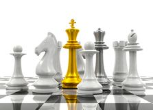 Chess pieces protect chess king and queen. Protection concept royalty free stock photo