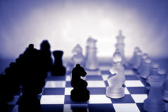Chess pieces in purple Royalty Free Stock Images