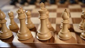 Chess pieces ready for a match. With movement from right  to left and focus on white ones on foreground stock footage