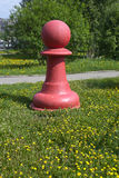 Chess pieces - red pawn on the green grass in the park family vacation Taganskaya settlement. Ekaterinburg Stock Photos
