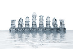 Chess pieces reflected in rendered water Royalty Free Stock Image