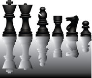Chess pieces and reflection Stock Photo