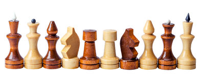 Chess pieces in a row Stock Photos