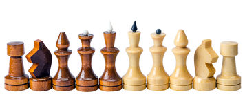 Chess pieces in a row Royalty Free Stock Image