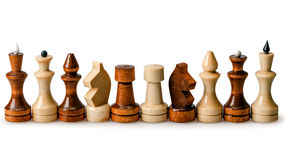 Chess pieces in a row Royalty Free Stock Photography