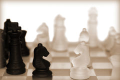 Chess pieces in sepia Royalty Free Stock Images