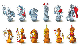 Chess pieces set. Chess full set, black and white pieces, Crusaders vs. Saracens, raster illustration Stock Photography