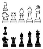 Chess pieces set. An illustration of a complete set of chess pieces in black and white Stock Photography