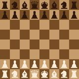 Chess pieces set of icons on a brown chess board. Chess figures vector illustration