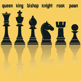 Chess Pieces Silhouettes with Reflection. Vector Royalty Free Stock Images