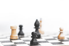 Chess pieces on the snow Stock Images