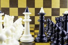 Chess pieces stand opposite each other, kings in a center royalty free stock photo