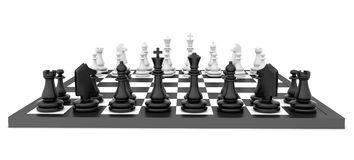 Chess pieces standing on black white chessboard Royalty Free Stock Images