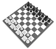Chess pieces standing on black white chessboard.  Royalty Free Stock Photo