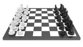 Chess pieces standing on black white chessboard Stock Photos