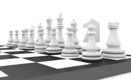 Chess pieces standing on black white chessboard Stock Image