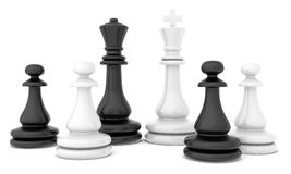 Chess pieces standing on white background with. Soft shadows Royalty Free Stock Image
