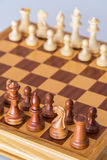 Chess pieces in starting position on a wooden Board Stock Photos