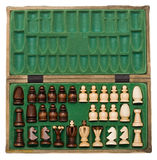Chess pieces stored in padded box Stock Images
