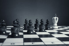 Chess pieces stored in padded box. Black pawns pursue the white king Royalty Free Stock Images
