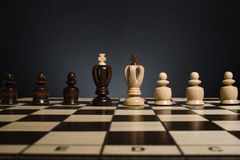 Chess pieces stored in padded box Stock Photo