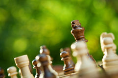 Chess pieces on a table Royalty Free Stock Photo