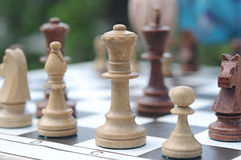 Chess pieces on a table Royalty Free Stock Images