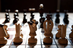 Chess pieces on a table in the park Royalty Free Stock Images