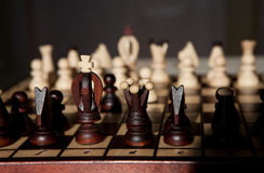 Chess pieces on a table in the park Royalty Free Stock Photography
