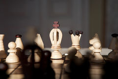 Chess pieces on a table in the park Stock Photography