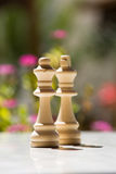 Chess Pieces on Table Stock Image