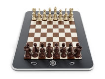 Chess pieces on tablet computer Royalty Free Stock Image