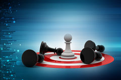 Chess pieces on the target icon Royalty Free Stock Photo