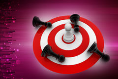 Chess pieces on the target icon Stock Image