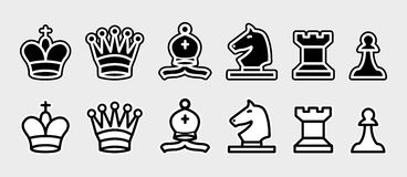 Chess pieces. Chess vector pieces complete set. Editable eps file available Stock Images