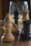Chess pieces and Whiskey Glass Royalty Free Stock Image