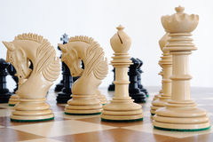 Chess pieces on wood board. Black and white Royalty Free Stock Photos