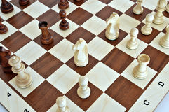 Chess pieces on wood board Stock Image