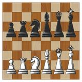 Chess Pieces on Wooden Chess Board. Wooden Chess Board with Black and White Chess Pieces. Vector illustration Stock Images